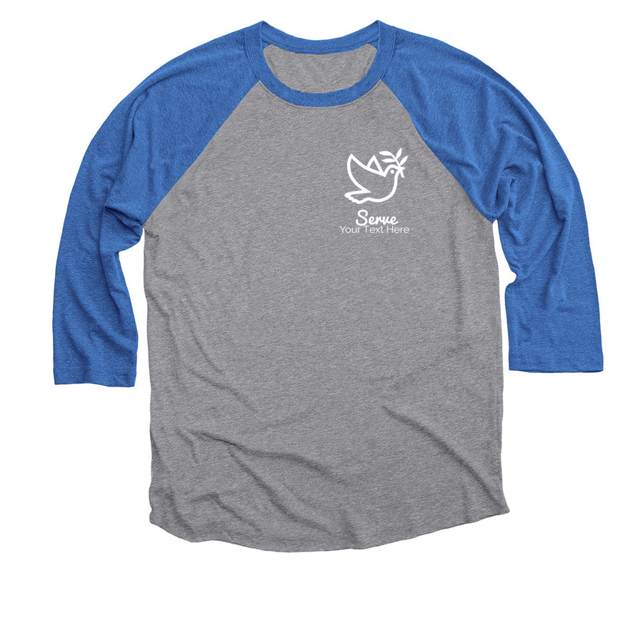 55084dda vintage royal and premium heather baseball shirt with dove image and serve  text