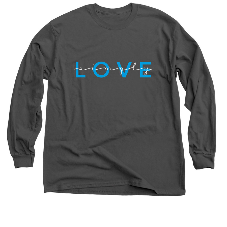 ad9bbdcc dark heather long-sleeve shirt with simply love text. Customize